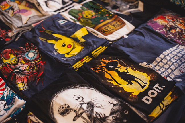 t-shirts with various designs